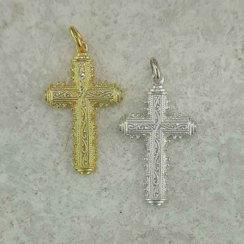 Greek silver-gold crosses, Greek traditional crosses of Rhodes, Greek traditional filigree crosses jewelry of Rhodes, traditional Rhodes jewelry, filigree gold plated and silver crosses of Rhodes, traditional Greek jewelry