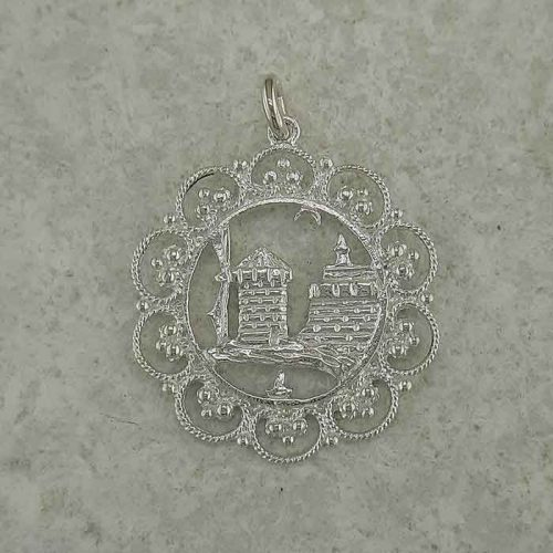 Windmills of Rhodes pendant, Greek traditional filigree Rhodes jewelry gold plated & silver pendants, traditional Greek silver pendants, traditional Greek jewelry
