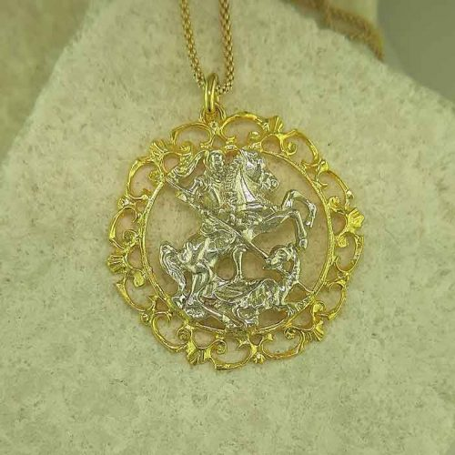 Saint George pendant, Greek traditional filigree Rhodes jewelry gold plated & silver pendants, traditional Greek silver pendants, traditional Greek jewelry