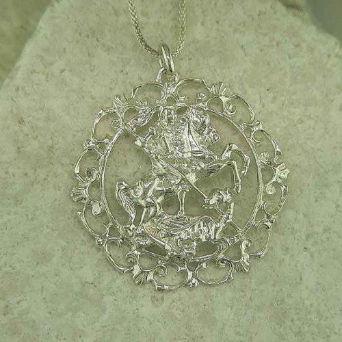 Saint George pendant, Greek traditional filigree Rhodes jewelry gold plated & silver pendants, traditional Greek silver pendants, traditional Greek jewelry